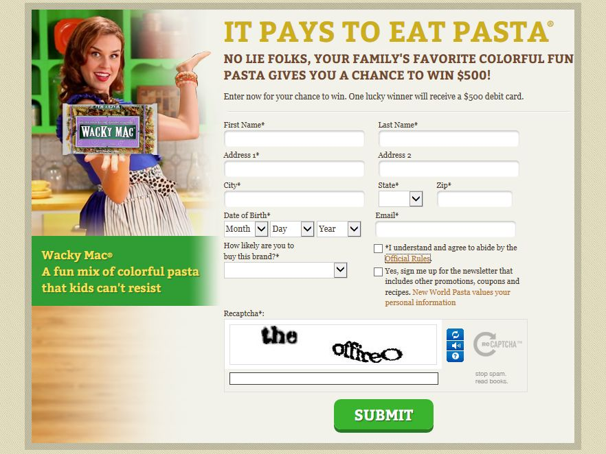 It Pays to Eat Pasta #4 Sweepstakes