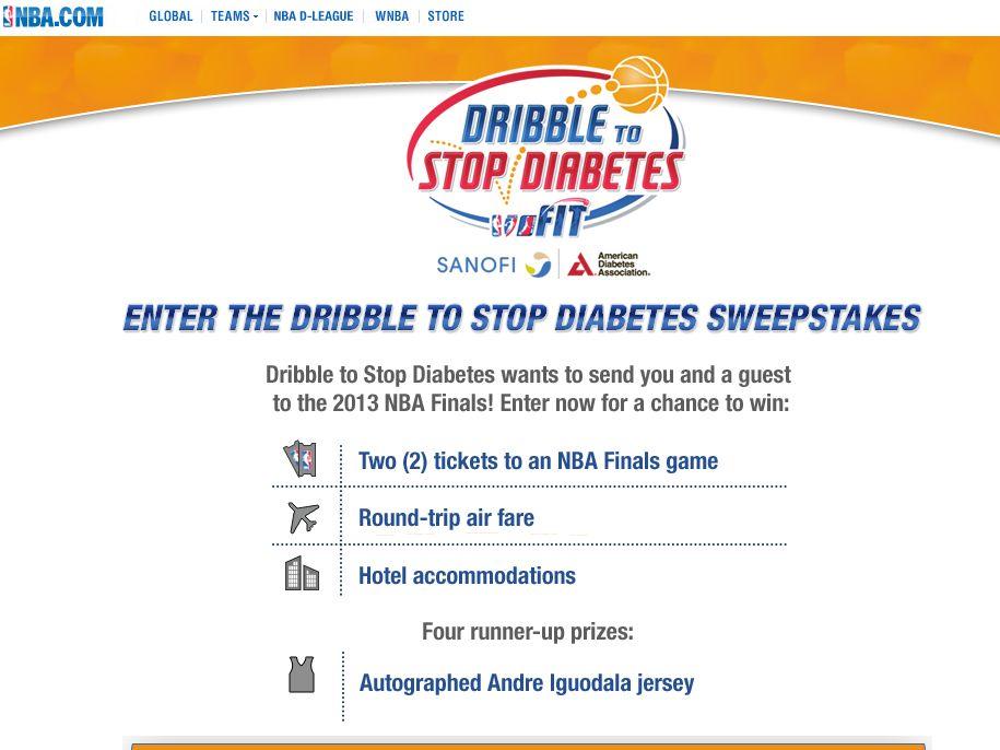 NBA Dribble to Stop Diabetes Program Sweepstakes