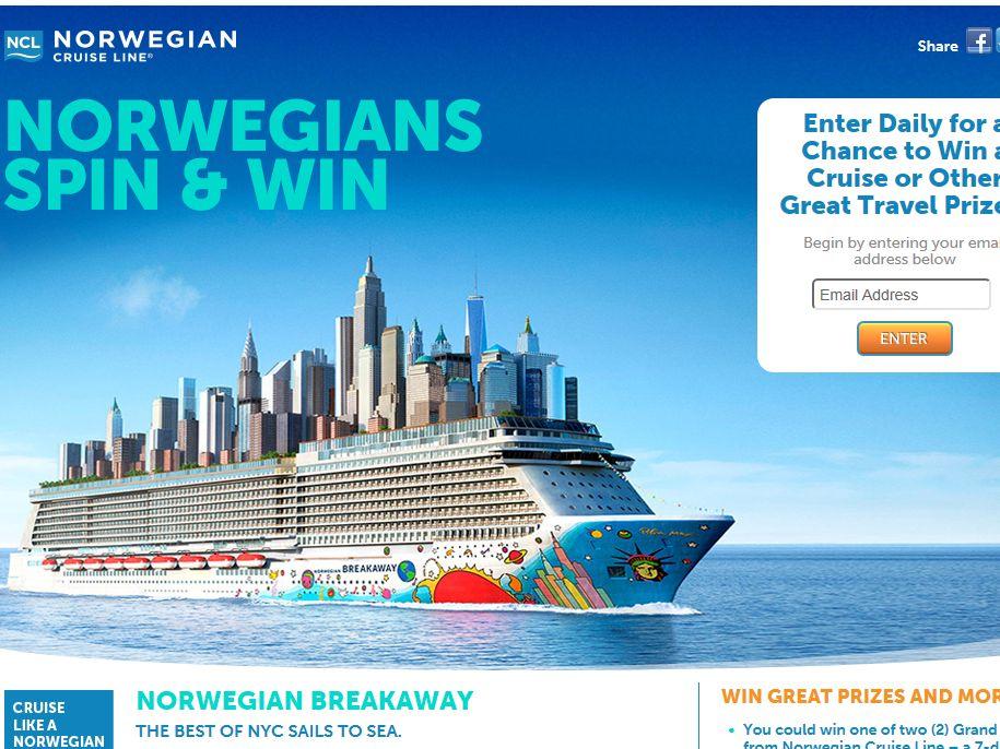 Norwegians Breakaway Instant Win and Sweepstakes