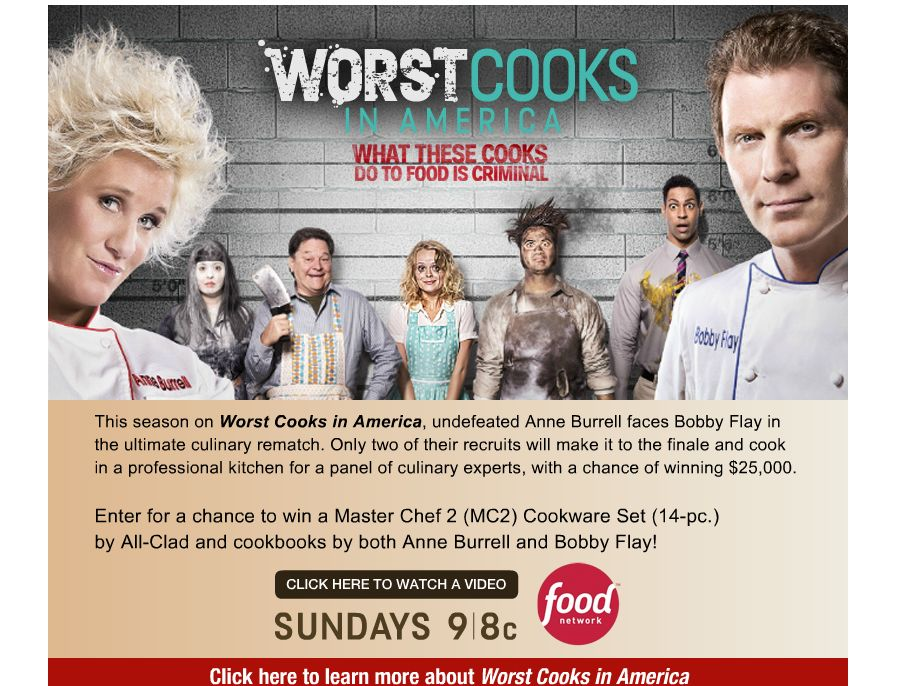 Worst Cooks in America Sweepstakes