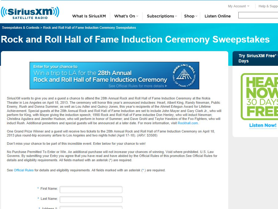 Rock and Roll Hall of Fame Induction Ceremony Sweepstakes