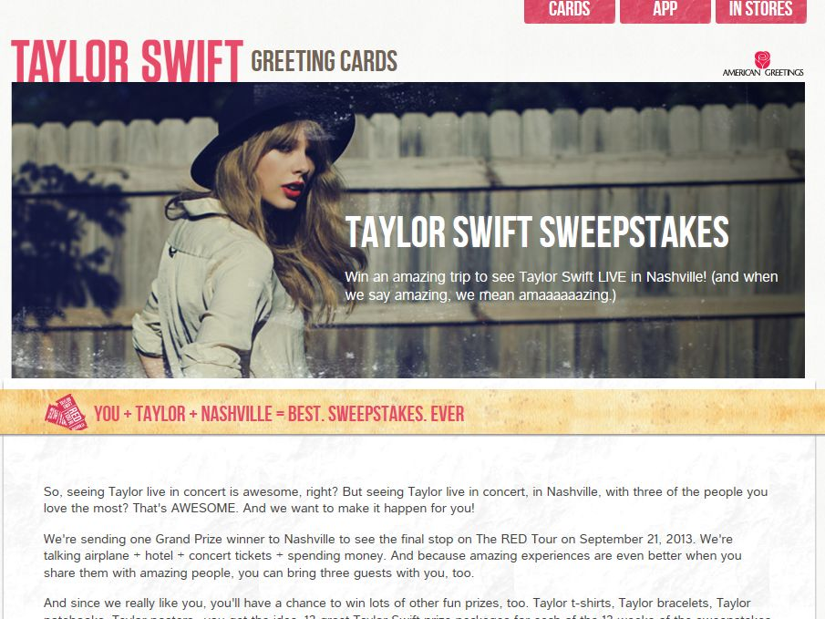 """American Greetings and Taylor Swift's """"Lucky 13"""" Sweepstakes"""