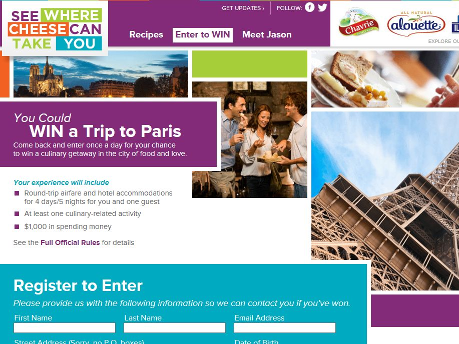 See Where Cheese Can Take You Paris Sweepstakes