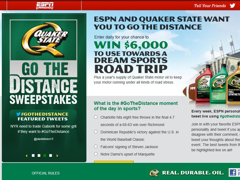 Quaker State Go The Distance Sweepstakes