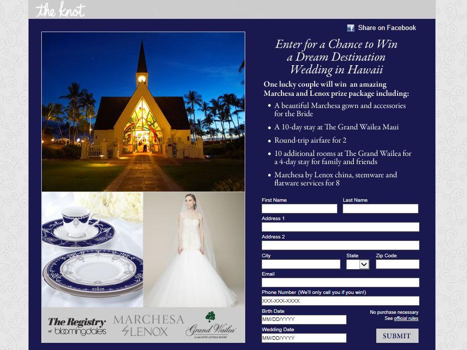 Lenox Win A Destination Wedding In Hawaii Sweepstakes