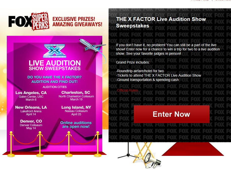 The X FACTOR Live Audition Show Sweepstakes