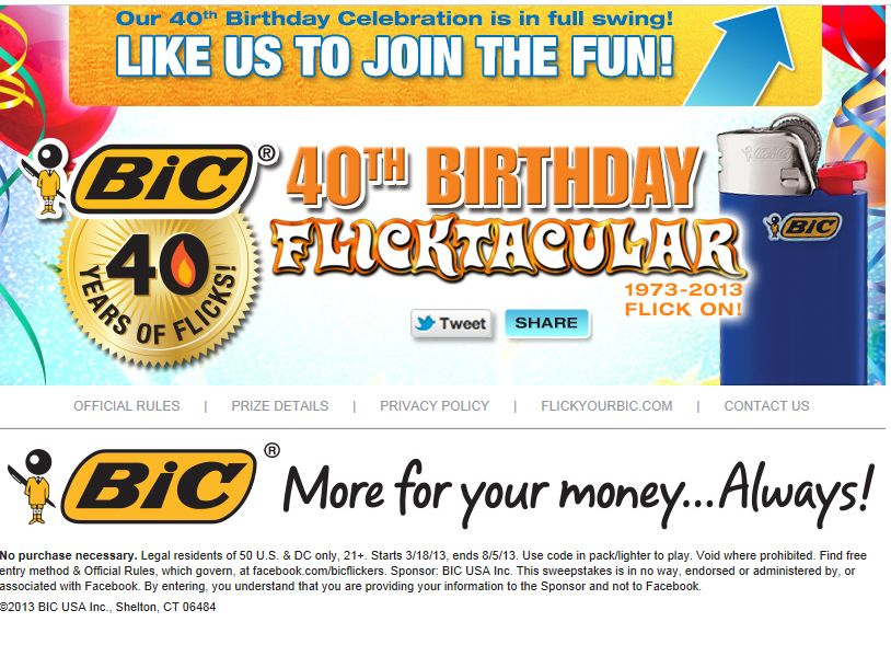 BIC Pocket Lighters 40th Birthday Flicktacular Instant Win Game and Sweepstakes