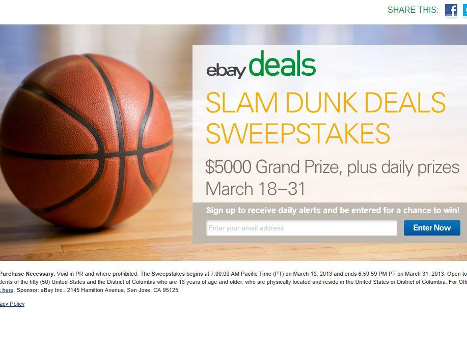 eBay Slam Dunk Deals Sweepstakes