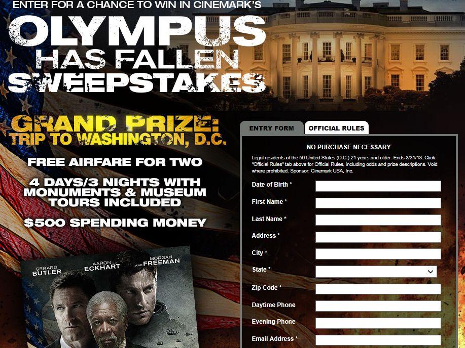 """Cinemark's """"Olympus Has Fallen"""" Sweepstakes"""