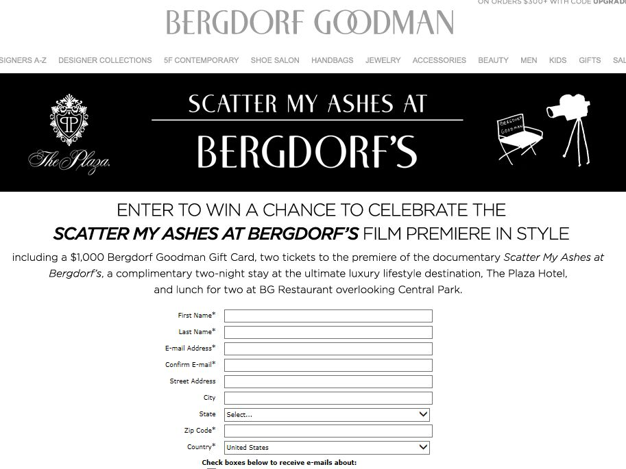 Scatter My Ashes at Bergdorf's Premiere Sweepstakes
