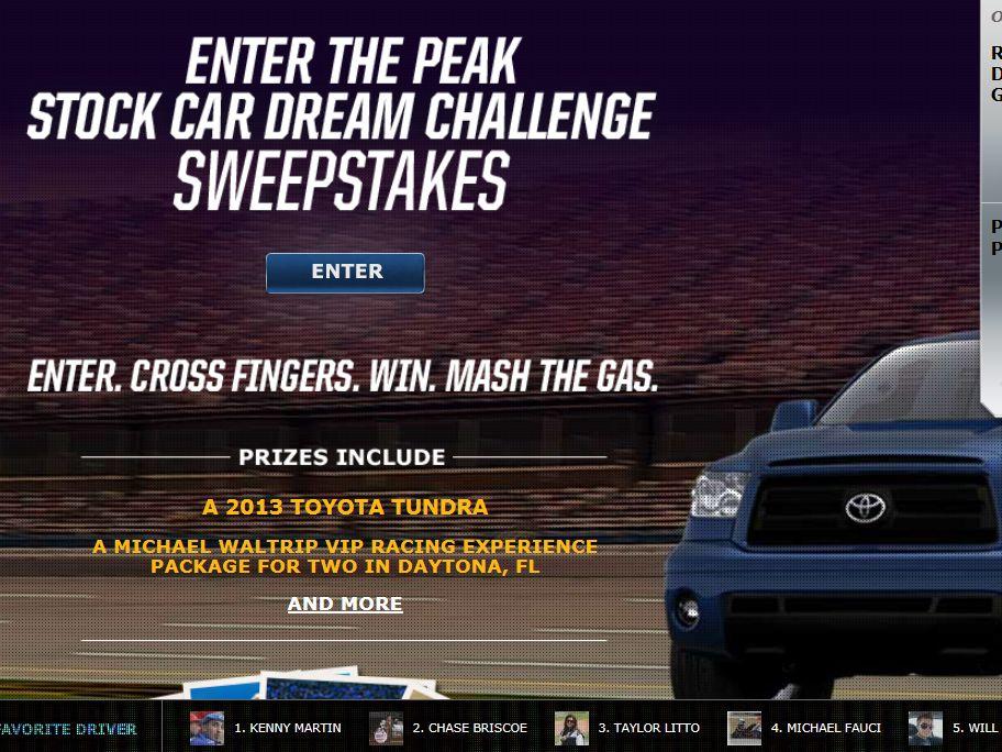 Peak Stock Car Dream Challenge Sweepstakes