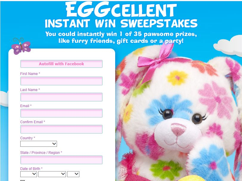 Build-A-Bear Workshop EGGcellent Instant Win Sweepstakes