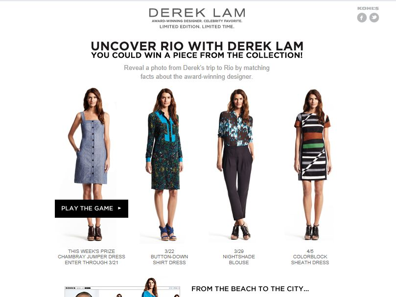 Kohl's Uncover Rio with Derek Lam Sweepstakes
