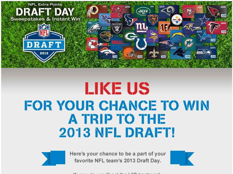 nfl draft sweepstakes barclaycard nfl extra points draft day sweepstakes 8643