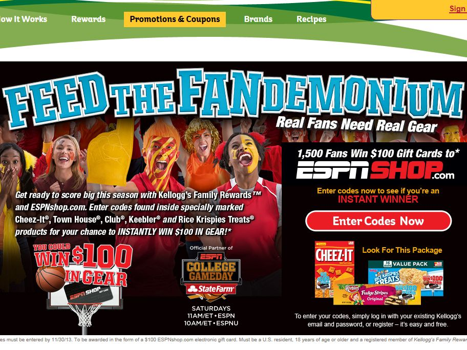 Kellogg's Feed the Fandemonium Instant Win Game - Code Required