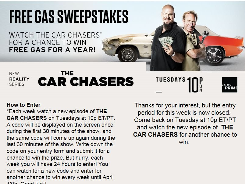 Car Chasers Free Gas Sweepstakes