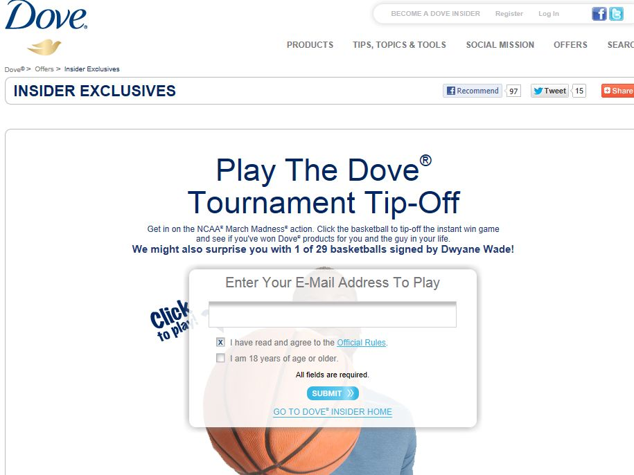 Dove Tournament Tip-Off Game Sweepstakes