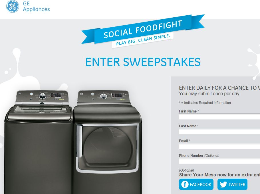 GE Social Food Fight Sweepstakes