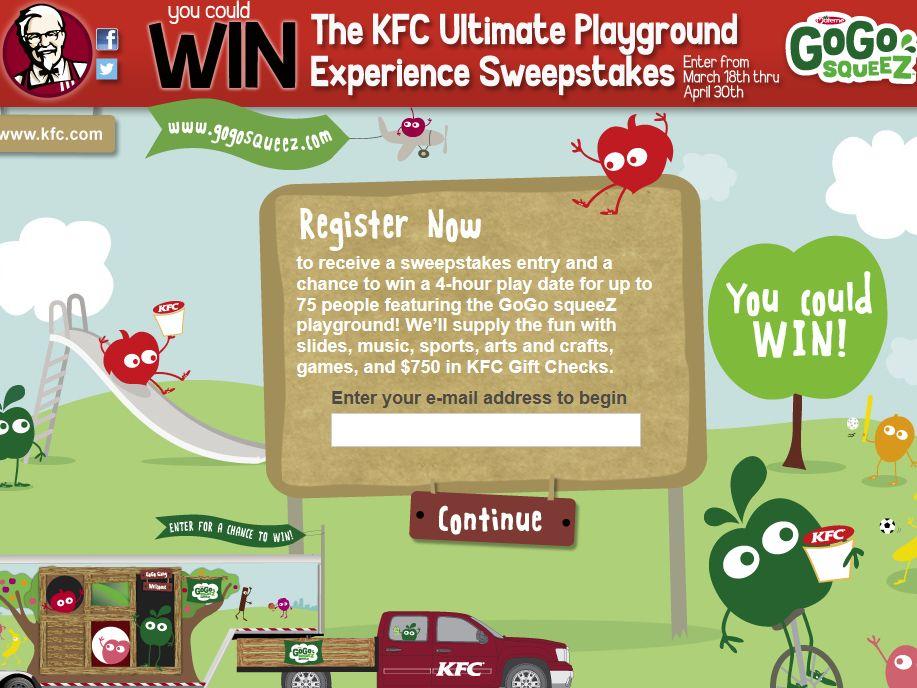 KFC Ultimate Playground Experience Sweepstakes