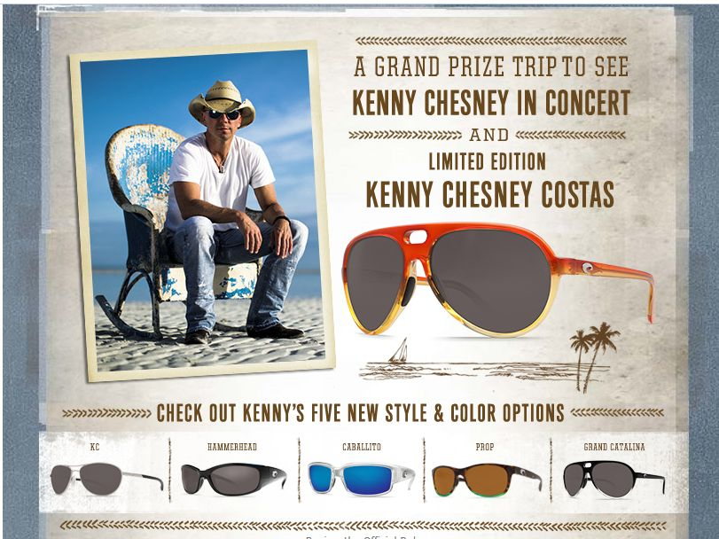 2bbeaa4d8a Kenny Chesney Costa Sunglasses Sweepstakes