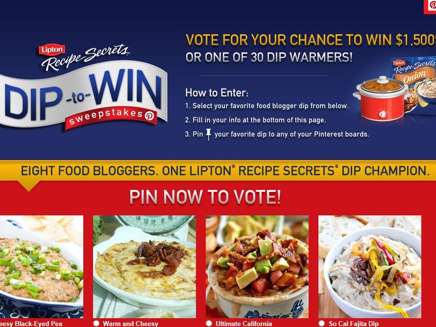 Lipton Recipe Secrets Dip to Win Sweepstakes