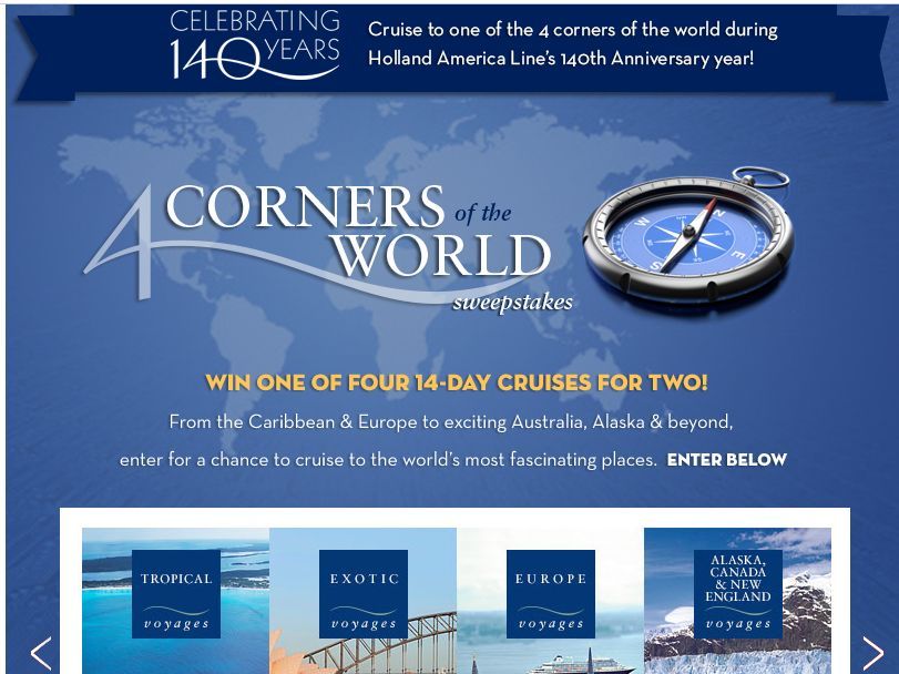 Holland America Line 4 Corners of the World Sweepstakes