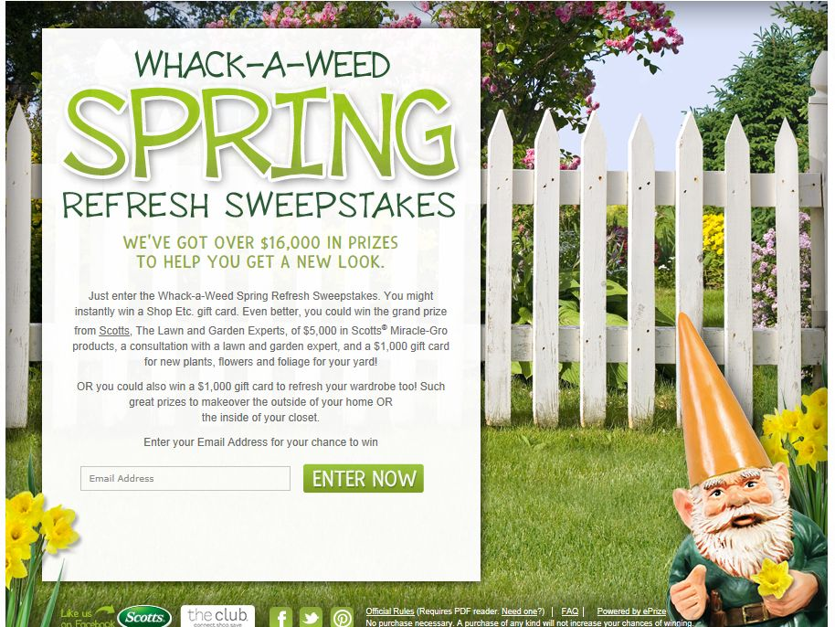 Whack-a-Weed Spring Refresh Sweepstakes