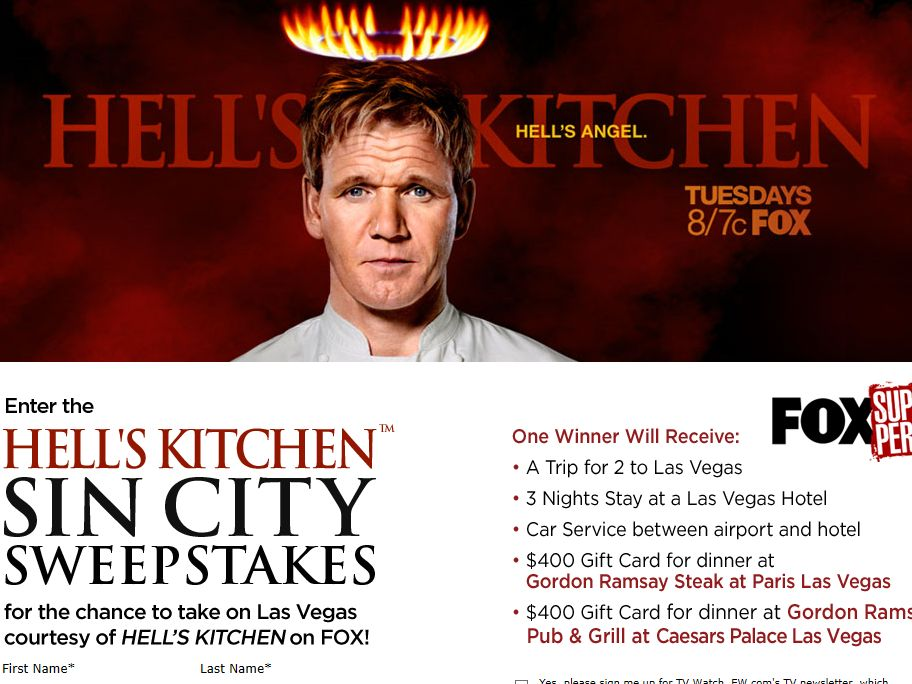 Hell's Kitchen Sin City Sweepstakes