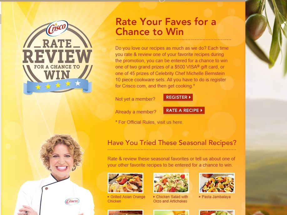 Crisco Rate & Review Sweepstakes