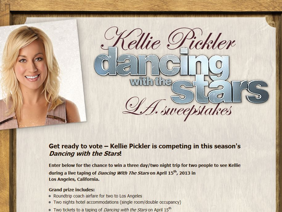 Kellie Pickler Dancing with the Stars LA Sweepstakes