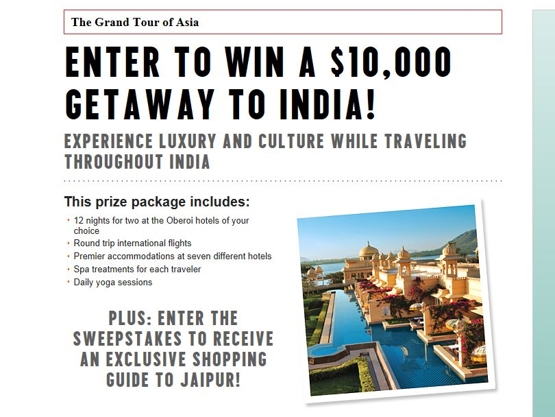 Grand Tour of Asia, Oberoi Hotels & Resorts Sweepstakes