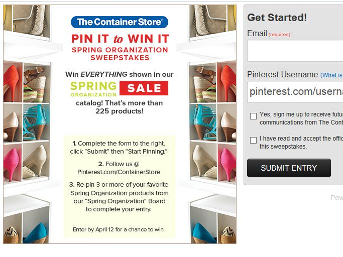 Container Store Pin It to Win It Sweepstakes