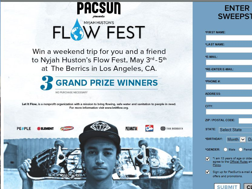 PacSun Presents Nyjah Huston's Flow Fest Sweepstakes