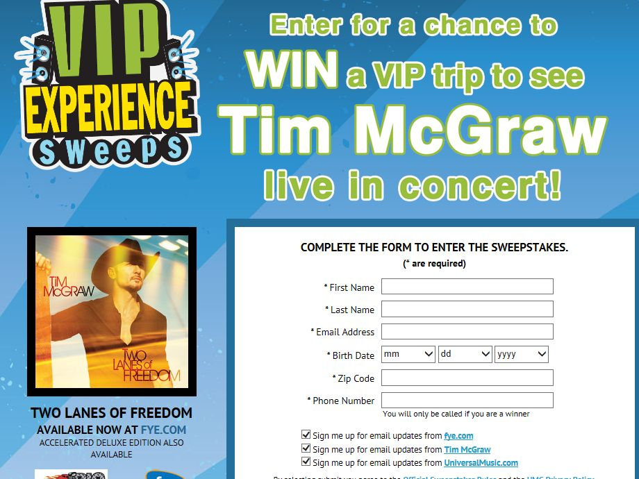 FYE TIM MCGRAW VIP Experience Sweepstakes