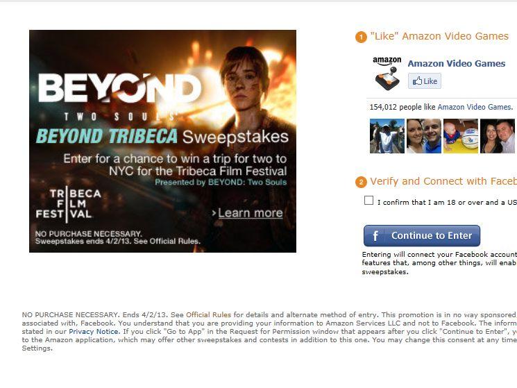Amazon.com BEYOND Tribeca Sweepstakes