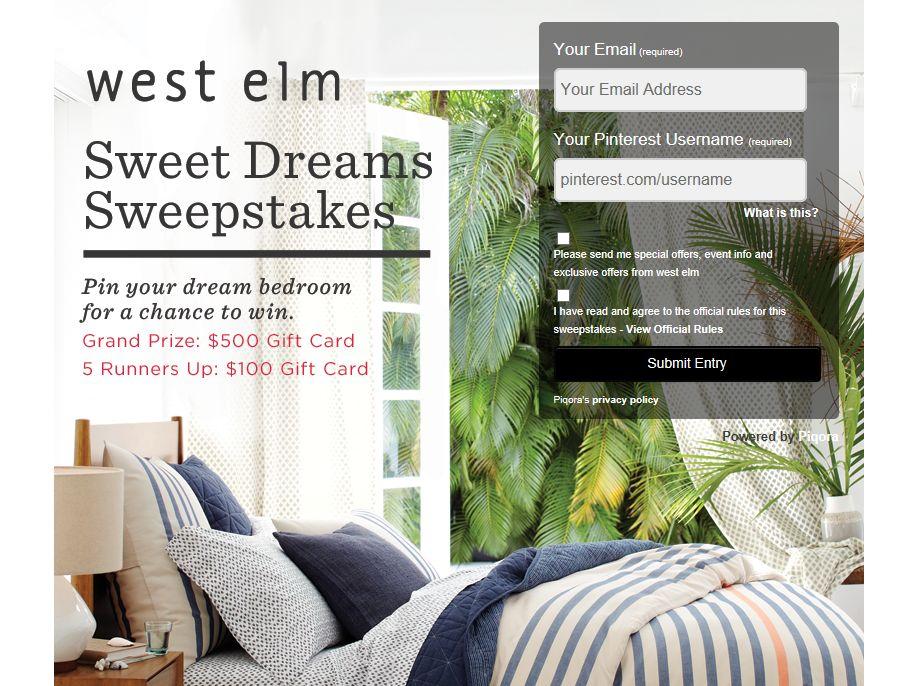 West Elm Sweet Dreams Sweepstakes
