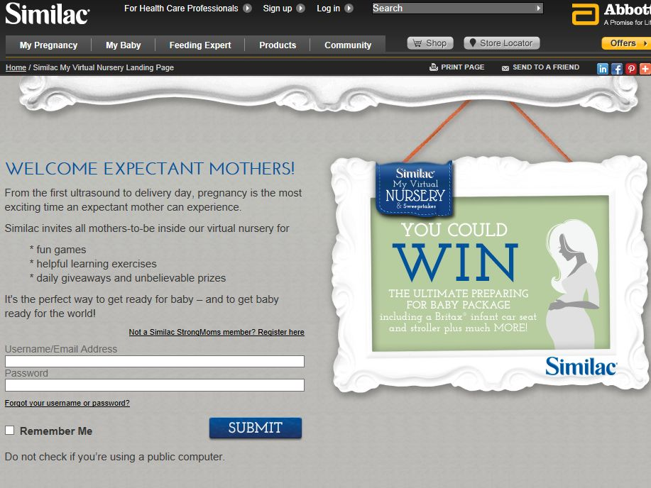 Similac My Virtual Nursery – Preparing for Baby Sweepstakes