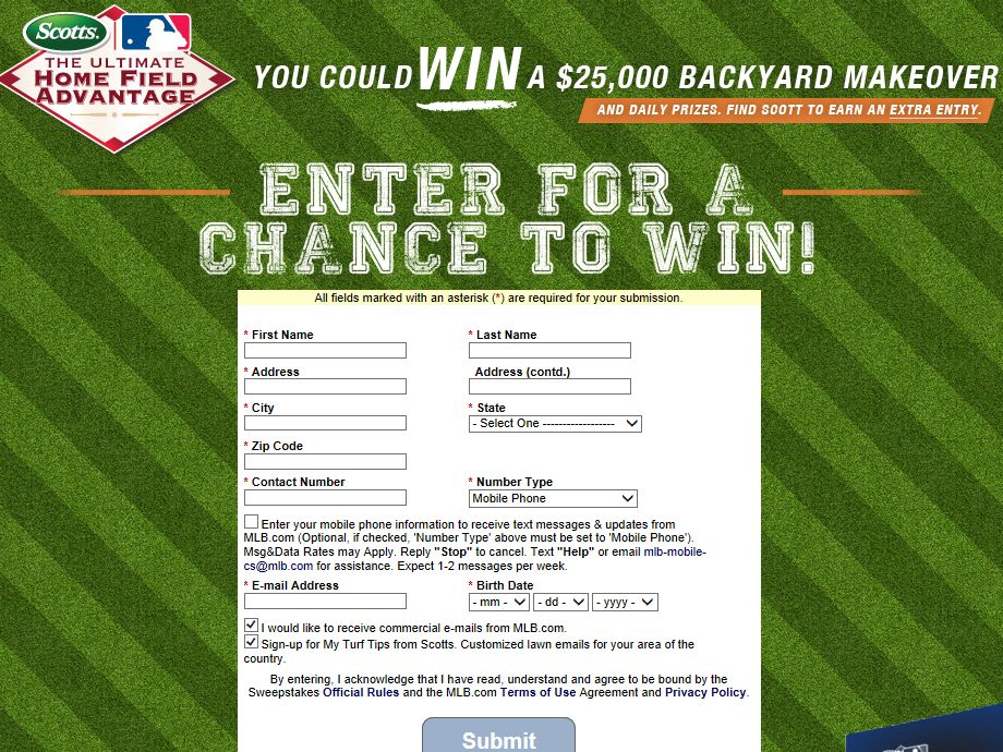 Scotts Ultimate Home Field Advantage Sweepstakes