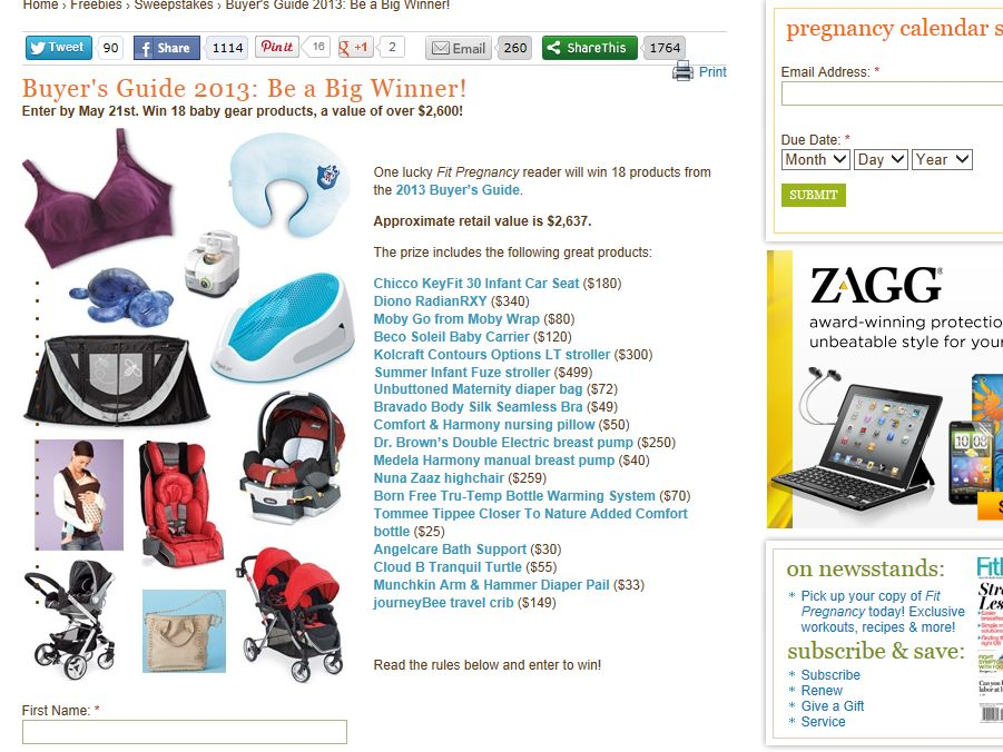 FitPregnancy Buyers Guide 2013: Be a Big Winner Sweepstakes