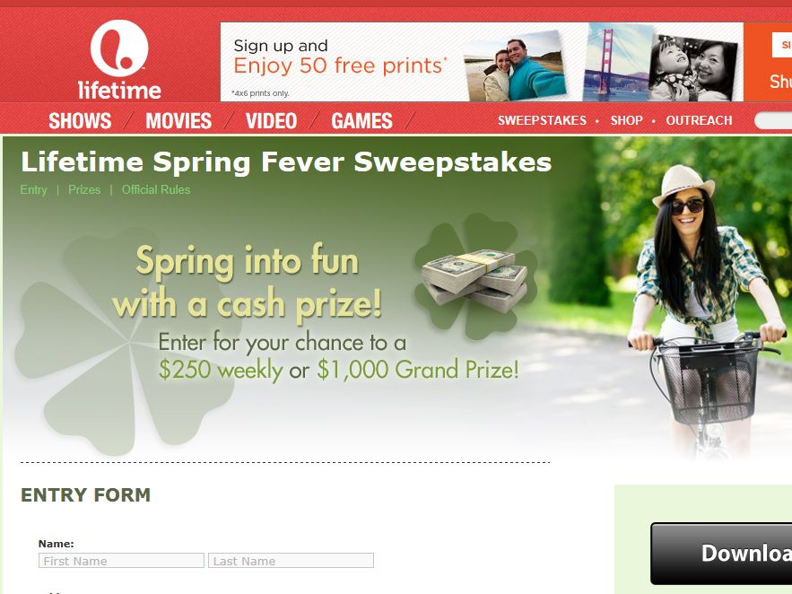 Lifetime Spring Fever Sweepstakes