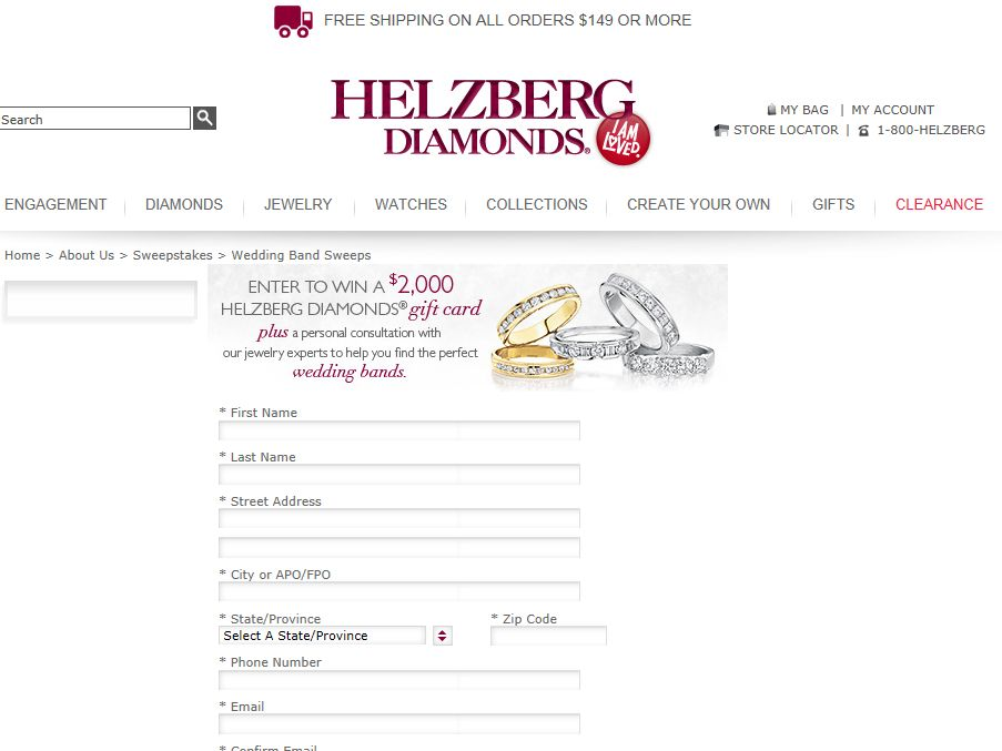 Helzberg Diamonds' Dream Wedding Band Sweepstakes
