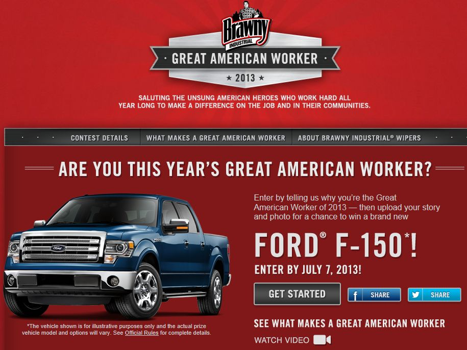 Brawny Industrial Great American Worker Contest & Sweepstakes