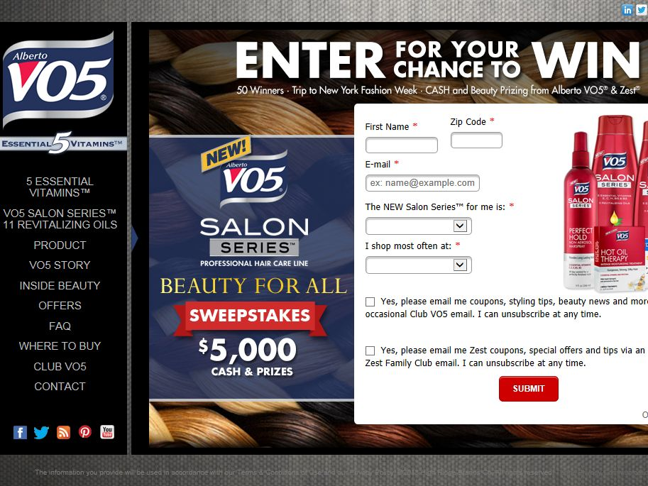 NEW VO5 Salon Series $5,000 Cash & Beauty Prizes Sweepstakes
