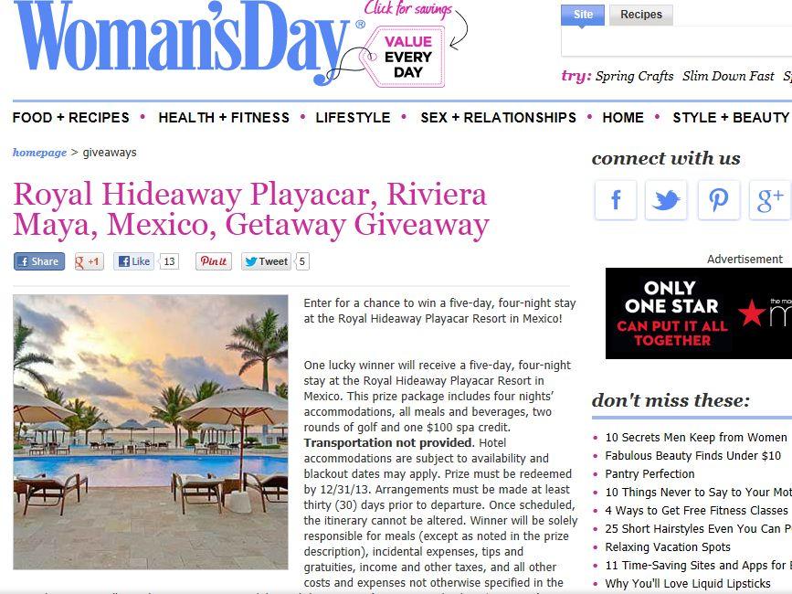 Royal Hideaway Playacar Resort Sweepstakes