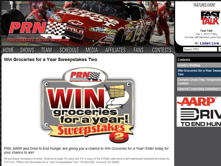 Win Groceries for a Year Sweepstakes Two