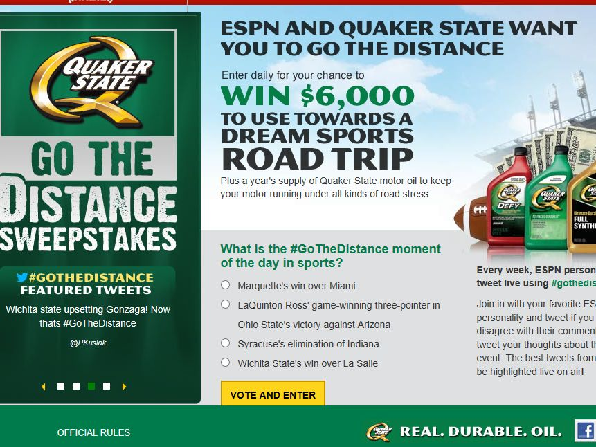 "Quaker State ""Go The Distance"" Sweepstakes"