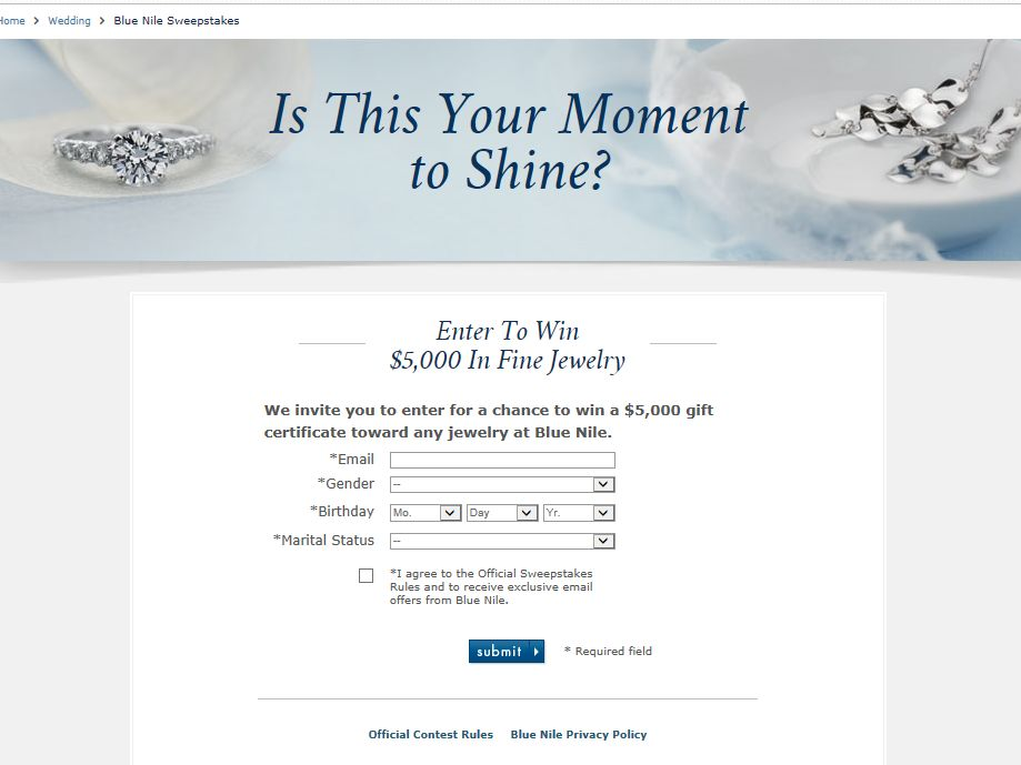 Blue Nile $5,000 Jewelry Sweepstakes