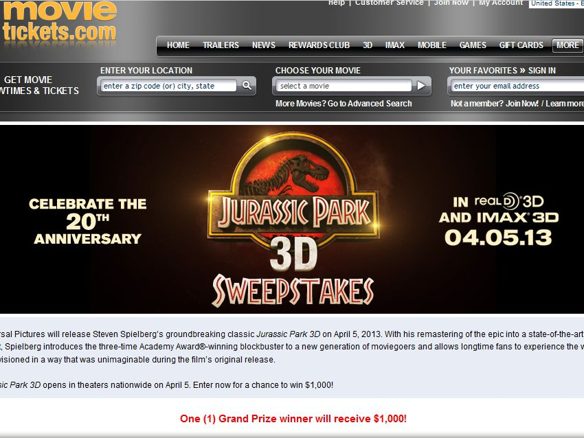 Jurassic Park 3D Sweepstakes