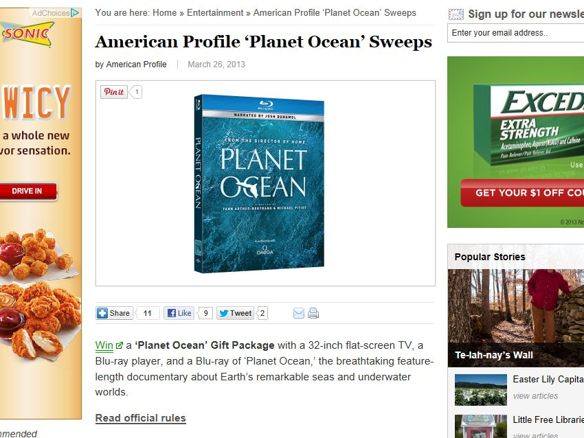 American Profile 'Planet Ocean' Sweepstakes