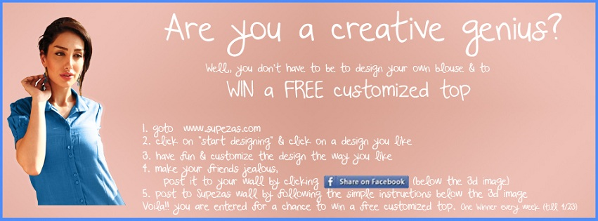 Win a customized blouse from Supezas (4/23/2013) US/CAN